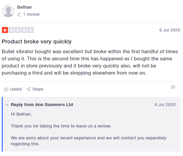 Trustpilot review & reply example