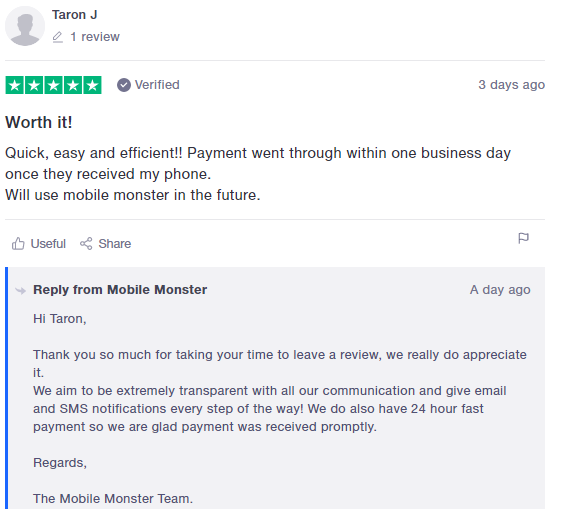 Trustpilot customer review example
