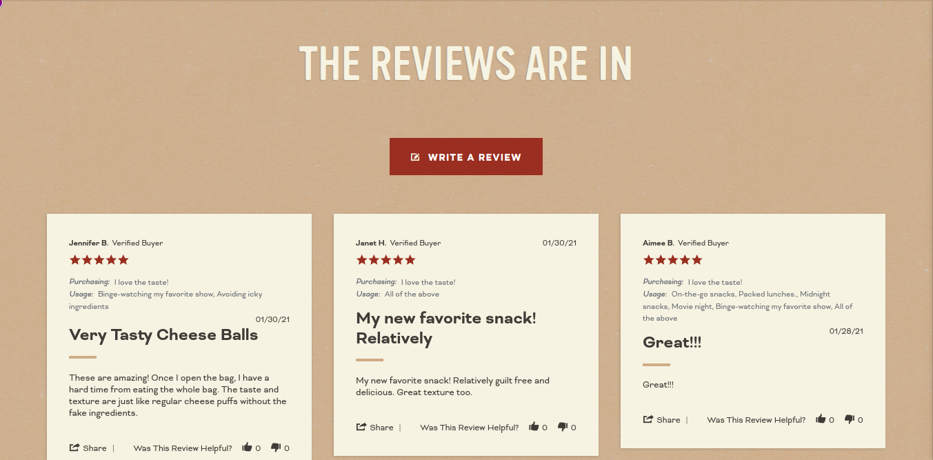 Pipsnacks product reviews layout