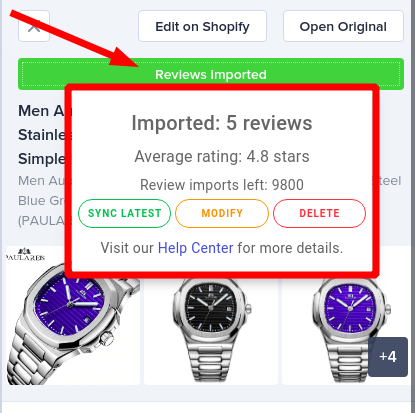 Import Reviews in bulk - Opinew Chrome Extension