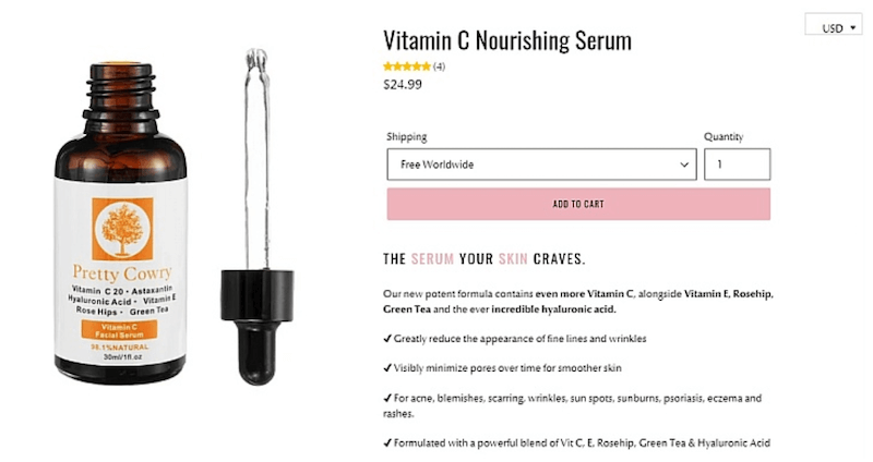YourSkinLove keeps product pages minimalist and themed while still providing essential information.