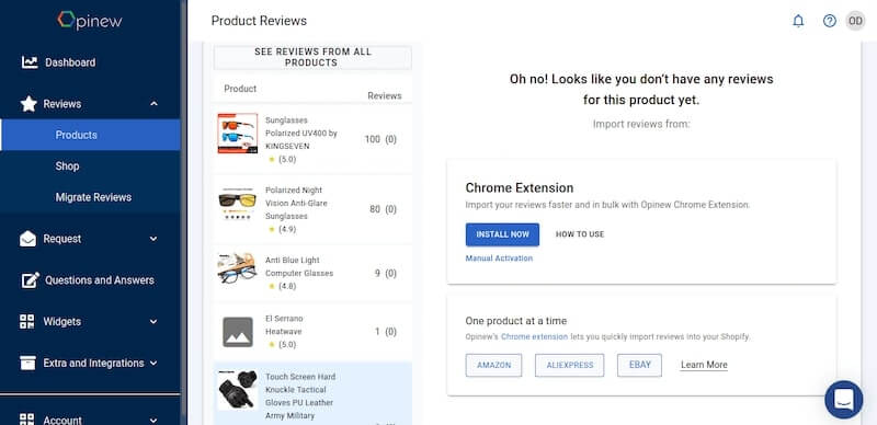 Opinew Dashboard Preview - Add Product reviews to your Shopify store