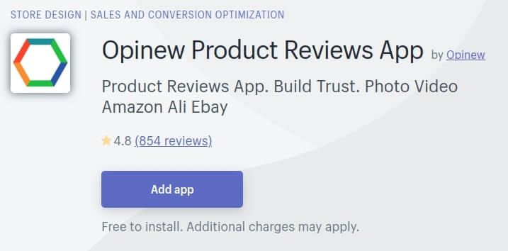 Shopify App Store - Opinew Product Reviews App