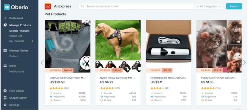Oberlo Dashboard - Best Shopify Apps