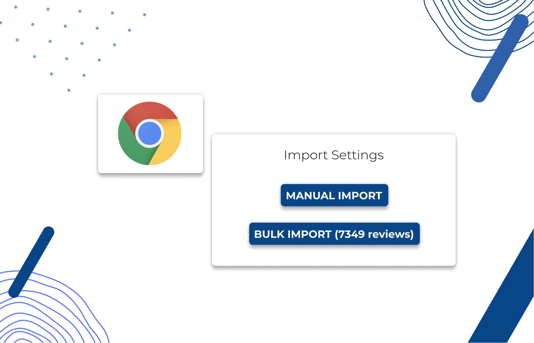 Opinew Google Chrome Extension import settings: Manual Import & Bulk Import