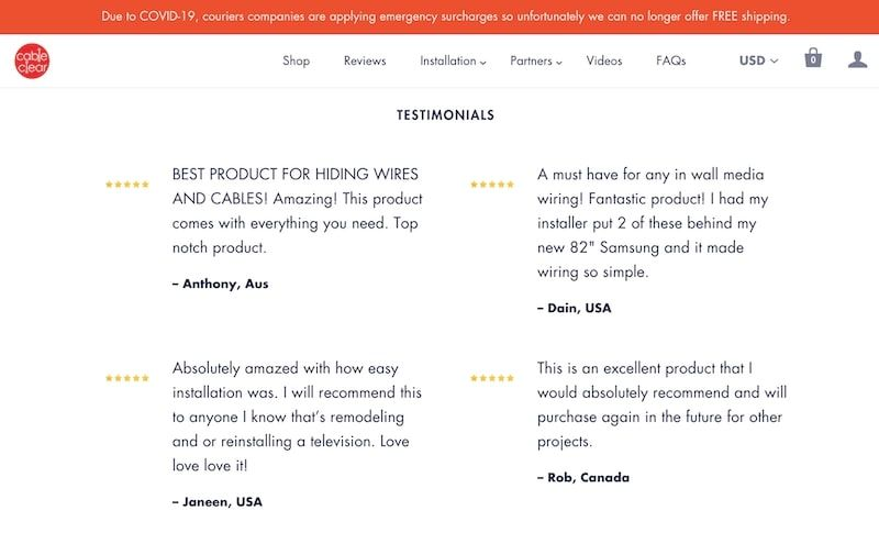 CableClear Testimonials Section