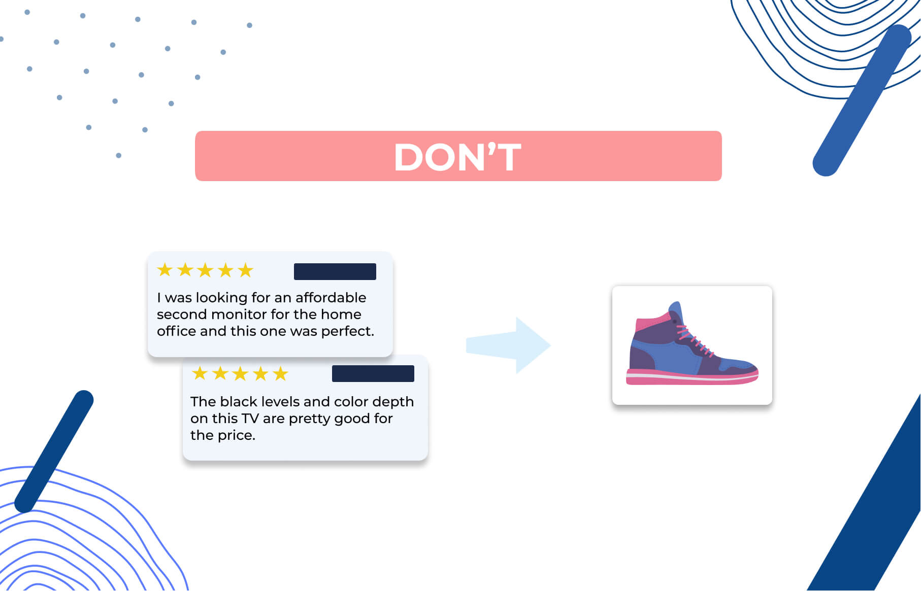 Bad example: import reviews for a TV to your sneaker shop