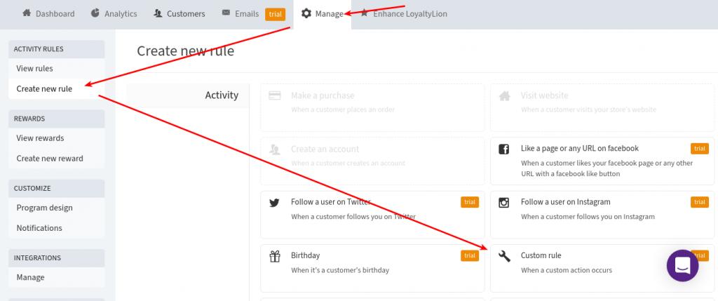 LoyaltyLion Dashboard - Create a new rule